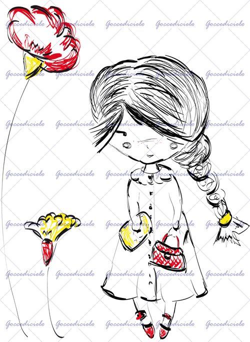 Bambina dalle lunghe trecce e dalle scarpette rosse tiene una borsetta dello stesso colore in una mano ed una cartellina gialla nell'altra. Due fiori giganti in colori coordinati le fanno da cornice. Realizzata con tecnica a china. http://www.goccedicielo.com/products/48/DOLLY