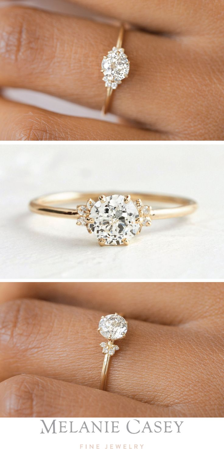 Unveiled Ring with Scattered Diamonds, 0.64ct. Antique Cut