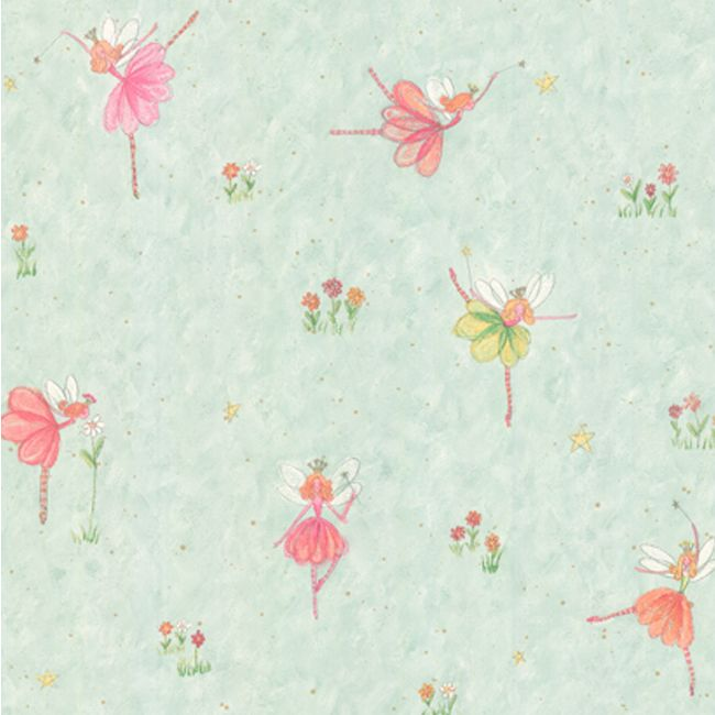 Aqua Whimsical Fairies Wallpaper - RosenberryRooms.com