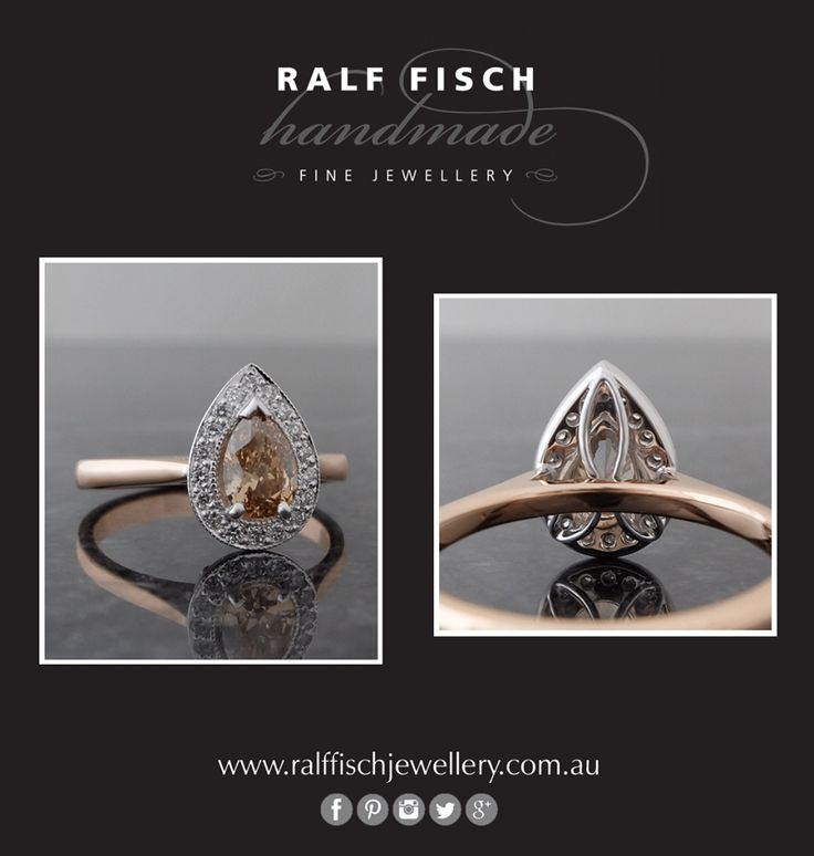 18ct white and rose gold hand crafted cluster engagement ring with a champagne diamond pear shape centre, framed by white round brilliant cut diamonds. Champagne diamonds with rose gold are a fantastic combination!