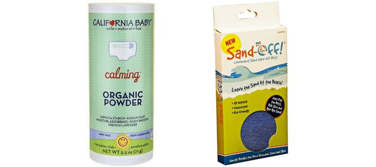 Beach Guide with Kids. Tips and Tricks. Baby Powder. Sand Off Mitt.