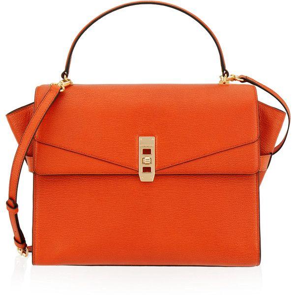 Henri Bendel Uptown Satchel ($498) ❤ liked on Polyvore featuring bags, handbags, dk orange, orange bag, henri bendel purses, handle bag, flap purse and handbag satchel