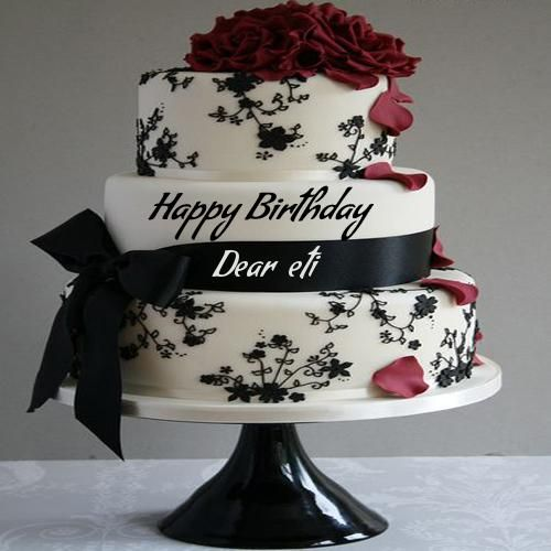 Write Name On Birthday Cake Pic Wrapped By Ribbon