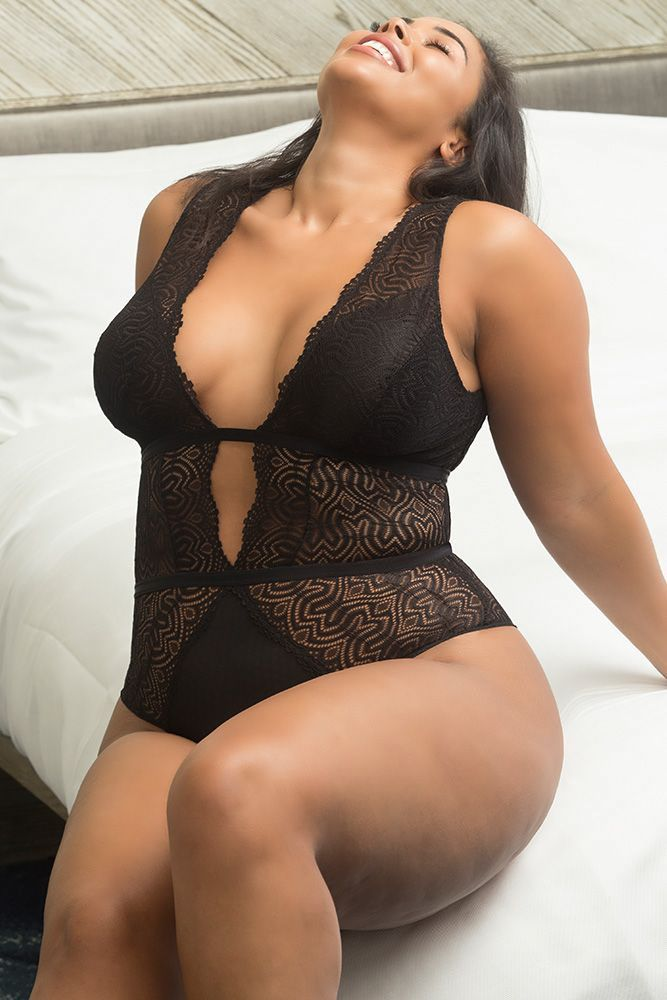 b36c6ea661324 ... Plus Size Swimwear Is Around. This irresistible one-piece features a  plunging neckline