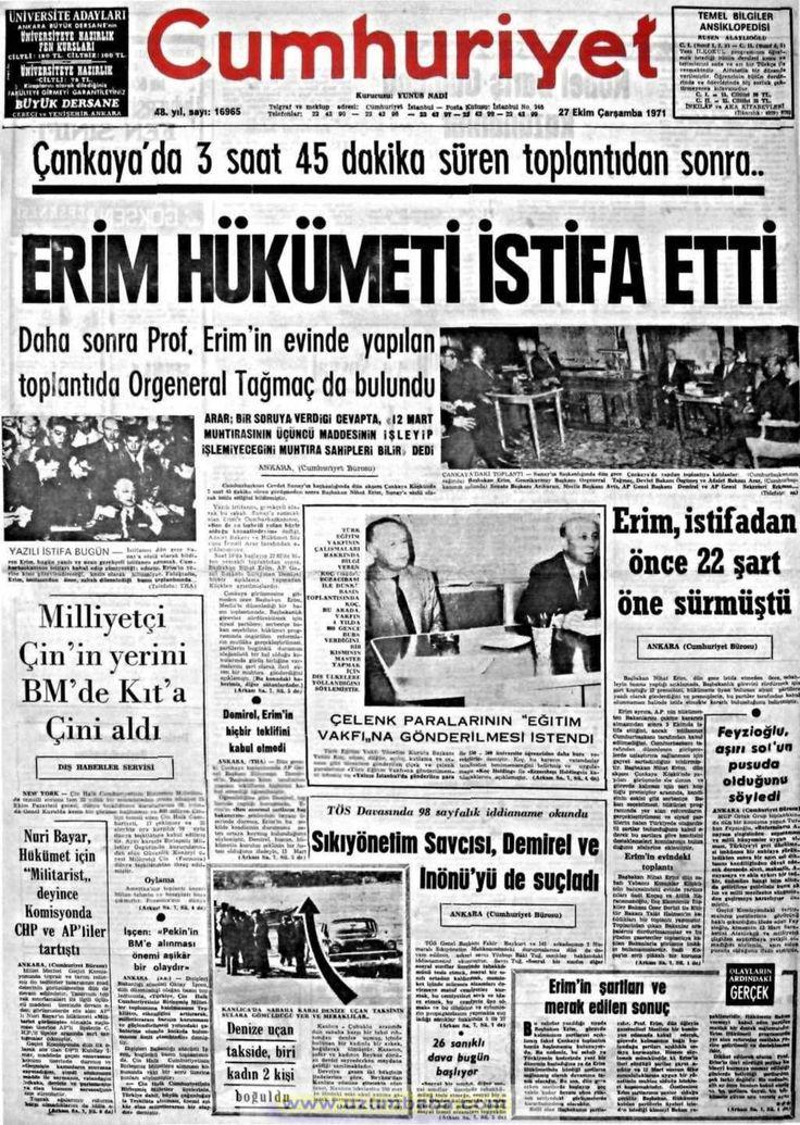 Cumhuriyet gazetesi 27 ekim 1971