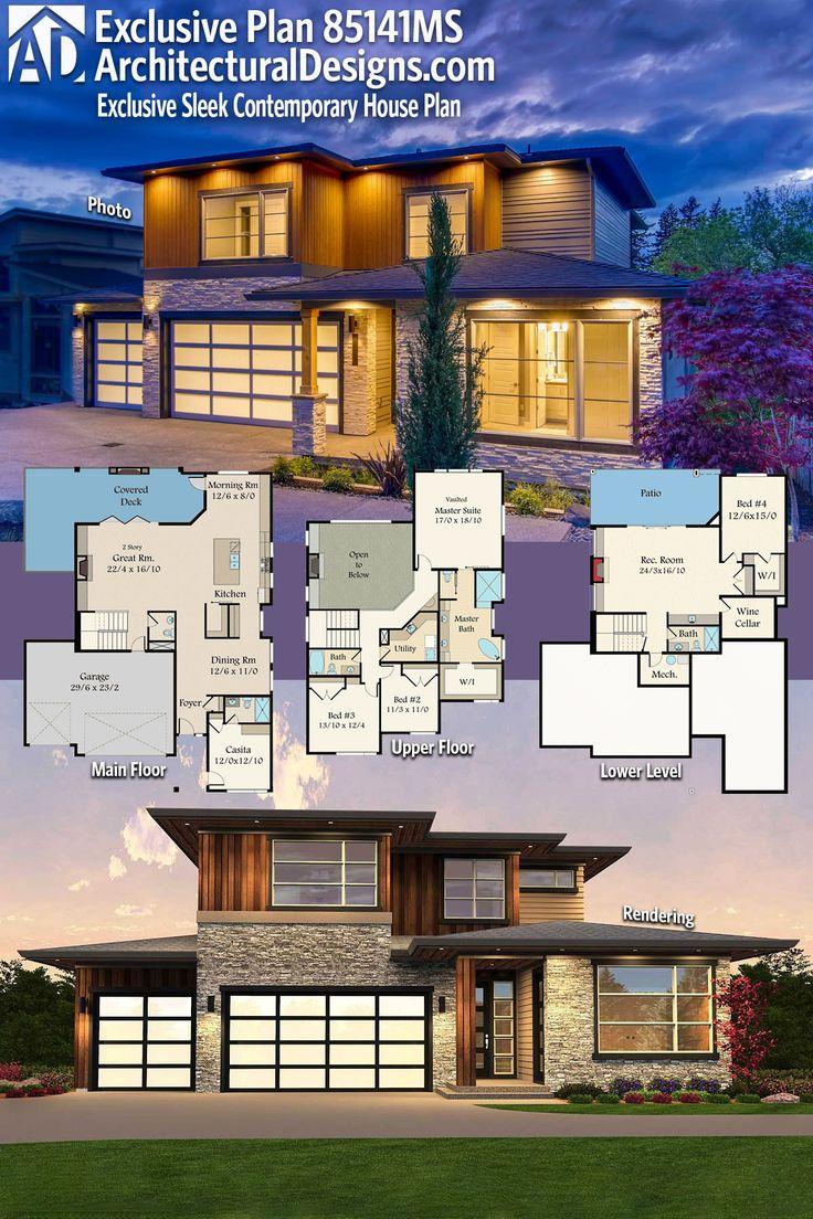 Plan 85141MS Exclusive Sleek Contemporary House Plan