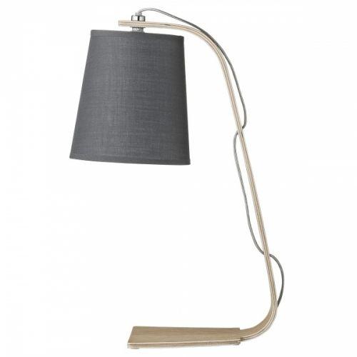 Bordlampe fra Bloomingville med fot i tre og grå skjerm. 2 meter ledning Bredde: 19,5x15 cm Høyde: 43 cmSokkel: E27Max 40W Anbefalt lyskilde: (Medfølger ikke)
