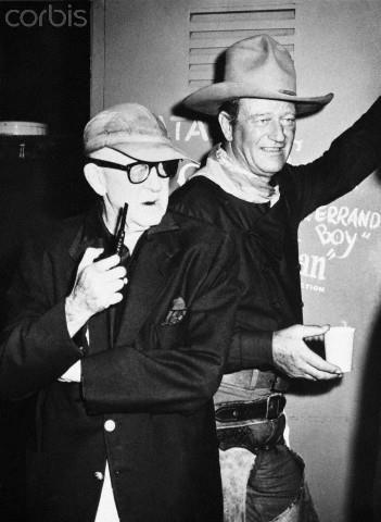 """""""The Man Who Shot Liberty Valance"""" (1962) - Director John Ford with John Wayne during interior shooting at Paramount."""