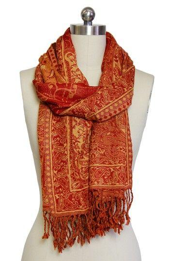 Woven Wool Blend Paisley Jamewar Shawl - Red by Saachi on @HauteLook