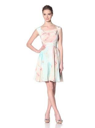 Christian Siriano Women's Ballet Print Sleeveless Drape Neck Dress