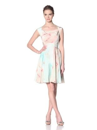 Christian Siriano Women's Ballet Print Sleeveless Drape Neck Dress