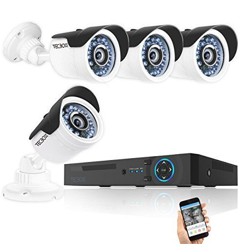 TECBOX Camera Security System 4 Channel 720P AHD Home Video Surveillance Equipment DVR Recorder No Hard Drive with 4 HD 13MP Waterproof Night Vision Indoor Outdoor CCTV System * To view further for this item, visit the image link.