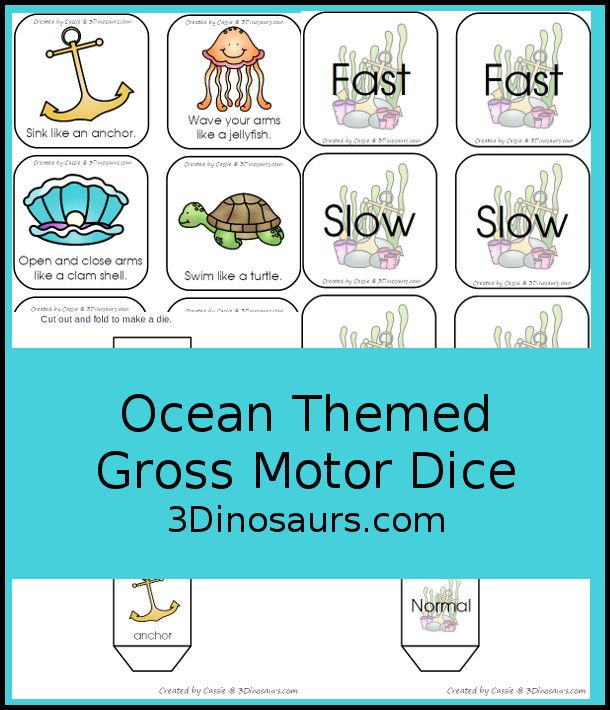 Free Ocean Themed Gross Motor Dice 6 Movments In The Ocean With A Speed Dice 3dinosaurs Com Fr Ocean Activities Preschool Gross Motor Ocean Theme Preschool Free ocean activities for preschoolers