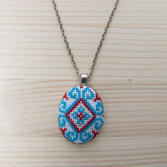Hand-Embroidered Cross Stitch Pendant Necklace  by AtelierThalia
