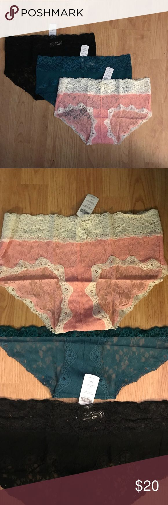 NWT Soma 3 Panties Large Final Price This listing is for all three NWT Soma Embraceable Allover Lace Cheeky Boyshort Panty. Colors are Pink Icing, Black and Gem Green.  They are perfect for Valentines Day! No trades. Soma Intimates & Sleepwear Panties