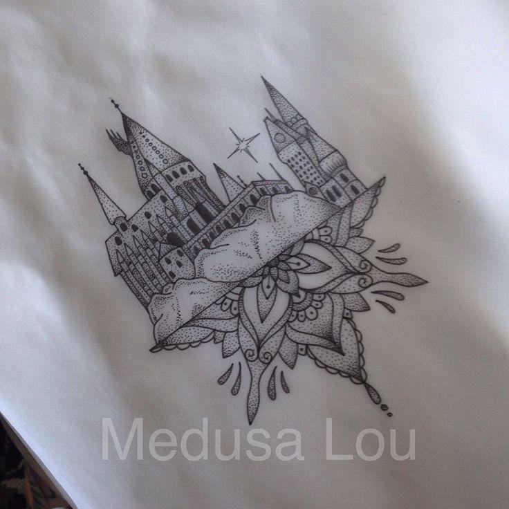 Hogwarts Castle inspired tattoo by Medusa Lou Tattoo - medusaloux@outlook.com