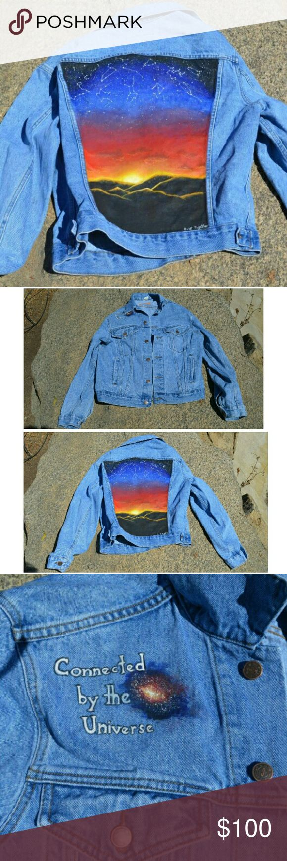 "Hand painted denim jacket Deciding to sell some of my handmade clothing! This is the first piece I've listed so questions & comments welcome! Painted with machine washable paint on a vintage jean jacket. The back has the Zodiac signs above a sunset. ""connected by the universe... Exist together"" the jacket itself is tagged a large but can fit s-large depending how you like your fit! Vintage Jackets & Coats Jean Jackets"