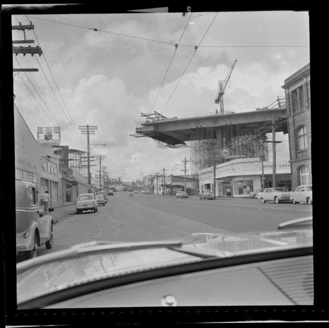 Construction of southern motorway viaduct over broadway, Newmarket, Auckland