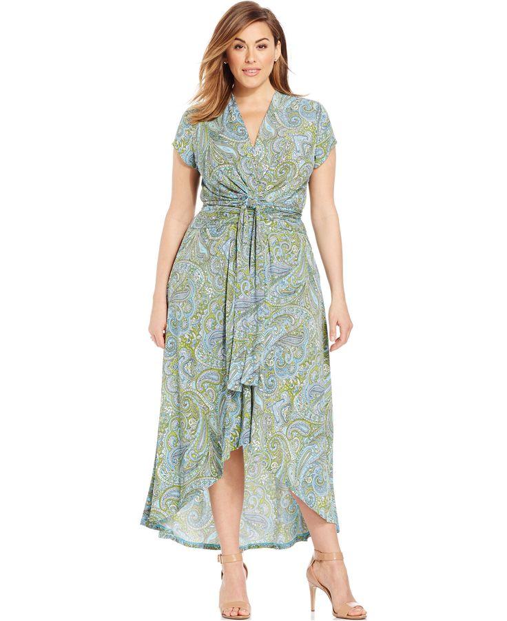 MICHAEL Michael Kors Plus Size Printed Faux-Wrap Maxi Dress - Dresses - Plus Sizes - Macy's