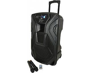 QTX Busker-12 Budżetowa kolumna na akumulator, portable PA,  nagłośnienie przenośne, kolumna mobilna, PA + 2 x VHF mics + USB/SD/FM/BT, mobilny zestaw nagłośnienia