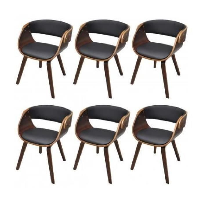 en de accoudoirs manger brun Lot cuir à chaises à 6 salle X8n0NOPwk