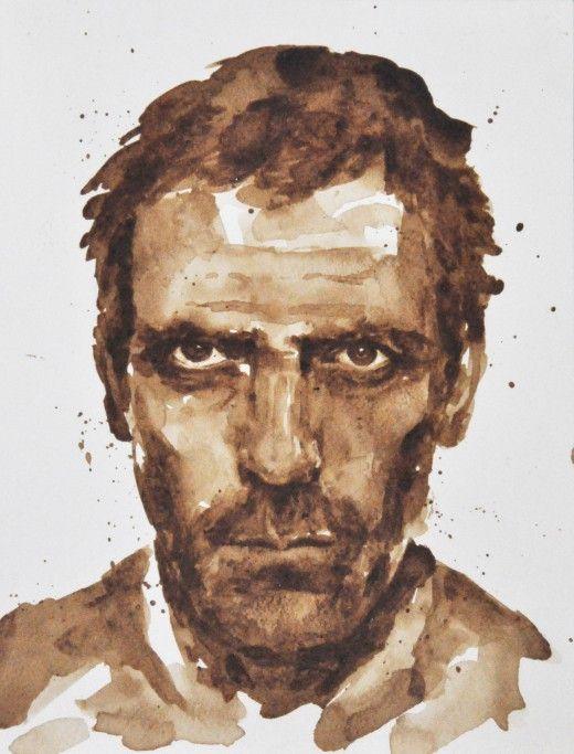 Hugh Laurie από την Μαρία Α. Αριστίδου. Τέχνη με χυμένο καφέ. Spilt Coffee Art!!