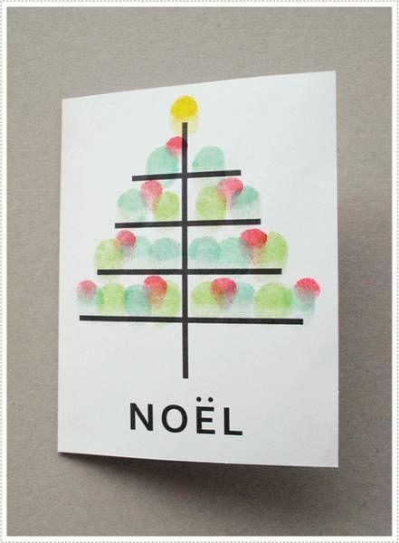 Utilisez vos doigts pour vos cartes de Noël | La cabane à idées