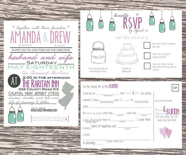Love These Mad Lib Rsvp S See More Rustic Chic Wedding Invitation With Mason Jars By Littlemissmrs