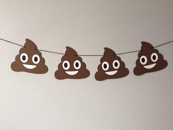 Happy Poop Emoji Banner // emojis heart eyes by brokebitchpaperco