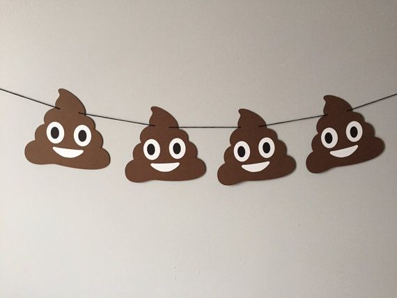 Happy Poop Emoji Banner // emojis heart eyes by brokebitchpaperco