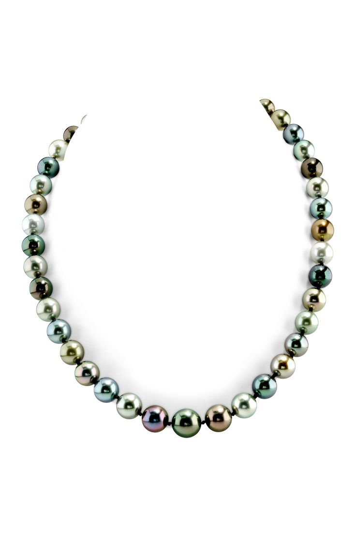 CERTIFIED 14K White Gold 9-11mm Multicolor Tahitian South Sea Pearl Necklace