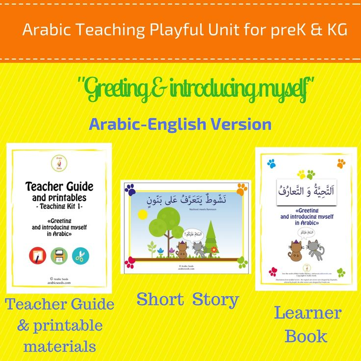 "www.arabicplayground.com ""Greeting and introducing myself in Arabic"" Playful Unit - with English translations. by Arabic Seeds"
