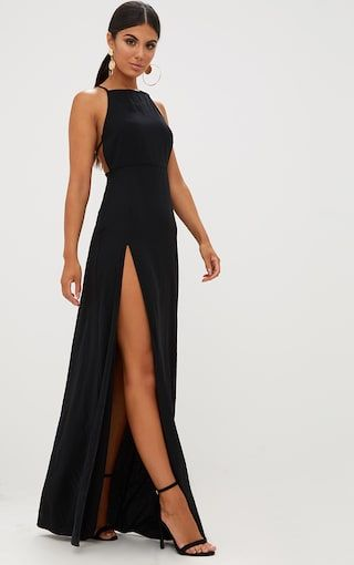 f7d04a68e1 Black Strappy Back Detail Chiffon Maxi Dress. Dresses | PrettyLittleThing