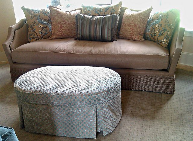 Custom oval ottoman for a formal Living Room by PoshSurfside.com, via Flickr