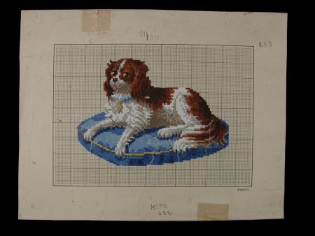 A Small Berlin Berlin WoolWork Pattern Of A Spaniel Killerton Fashion Collection © National Trust / Sophia Farley and Renée Harvey