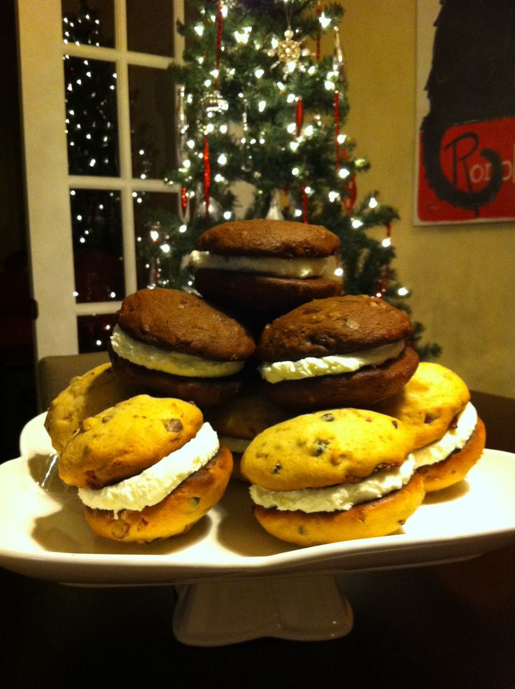 Light and Dark Fruitcake Whoopie Pies with Rum Buttercream.