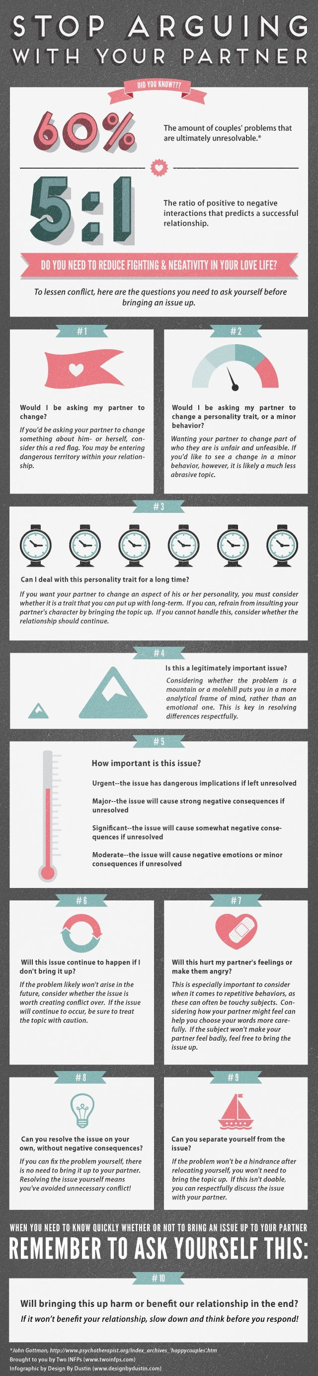 Stop arguing with your partner - how to make your relationship more enjoyable infographic