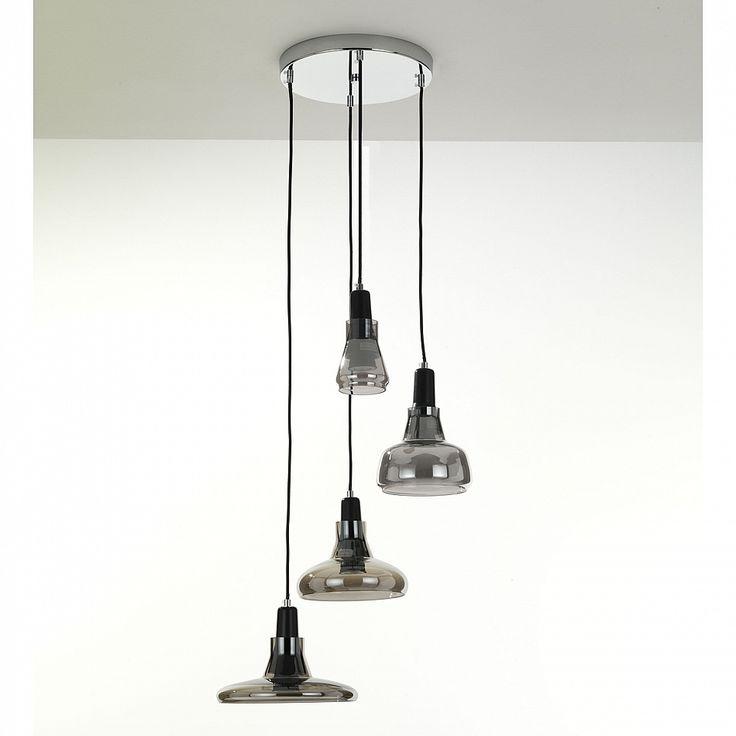 Italian design smoked glass pendant lamp Sky by Tomasucci