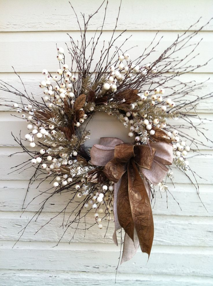 Elegant Christmas Wreath, Twig Berry Bronze Wreath - Bronze Glitter This wreath is made on a birch twig base with ivory berries, gold laurel