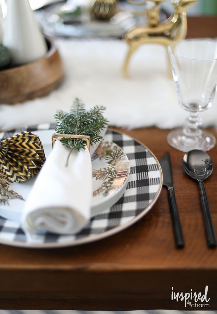 A Holiday Table in Black and Gold