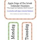 """Coordinating days of the week headers to match my """"Apple Calendar Numbers.""""  Also included are an 'August' and 'September' month header.    Print o..."""