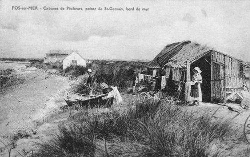 Cabanes de pêcheurs, Fos-sur-mer, pointe de  St-Gervais.  France