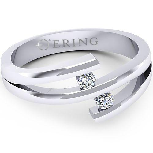 Inelul este realizat din aur alb 14k                                    Produsul are in componenta sa: 2 x diamant, dimensiune: ~2.20mm, greutate totala: ~0.08ct, culoare: G, claritate: VS2, forma: round