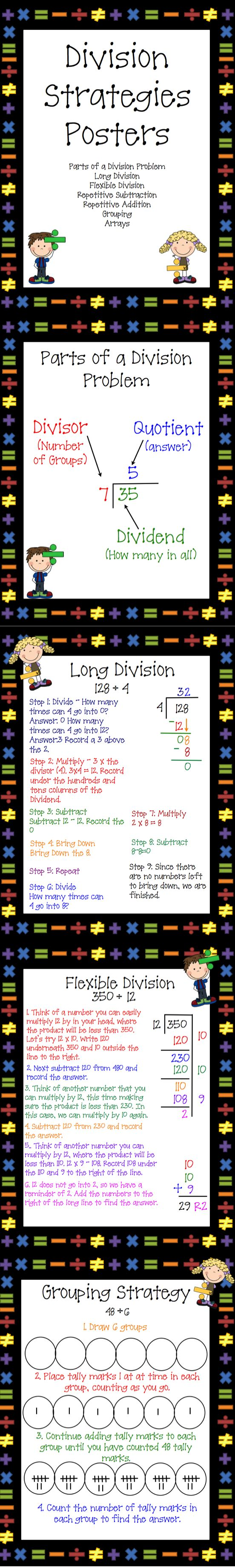 Use these 7 Step by Step Division Strategies posters as Anchor Charts or notes for your students. Included in this set are: Parts of a Division Problem Long Division Flexible Division Receptive Subtraction Repetitive Addition Grouping Array
