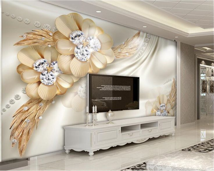 Beibehang Custom Photo Wallpaper Wall Gold High Grade Diamond Flower  Jewelry Living Room TV Background Part 91