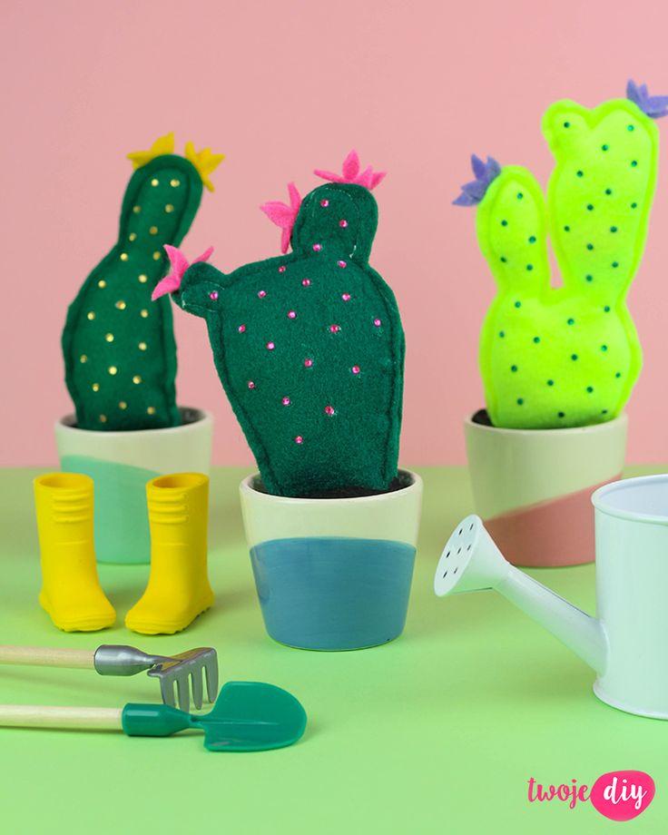 filcowe kaktusy, felt cactus diy