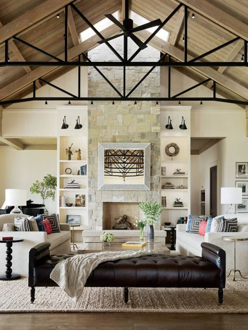 stylish-homes:  Located in Santa Rosa, California, this modern farmhouse's living room features a stone clad floor-to-ceiling fireplace and a tall vaulted ceiling.
