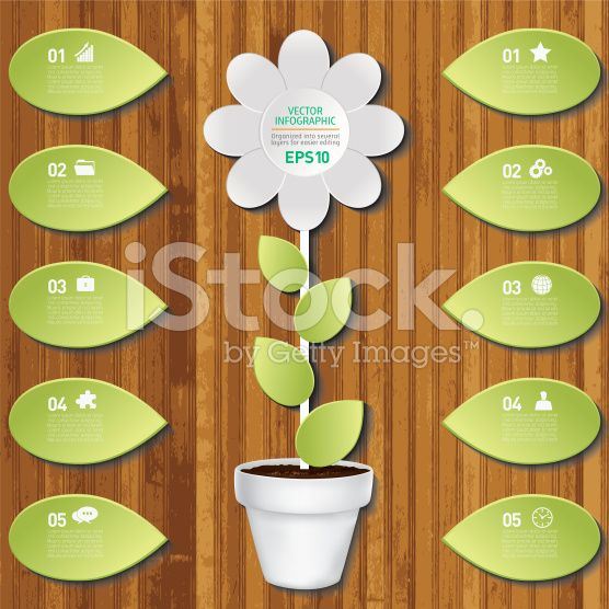 White Plant Infographic On A Wood Base royalty-free stock vector art