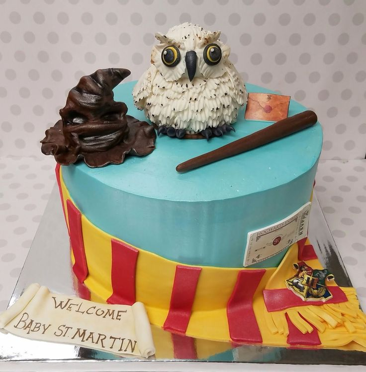 Harry Potter Baby Shower Cake. Buttercream Cake With Fondant Decorations.  Love The Owl!