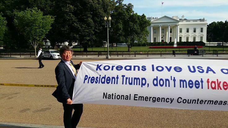 Protest of Professor Choi in front of White House  최우원 교수 백악관 앞에서 가짜 대통령 규탄